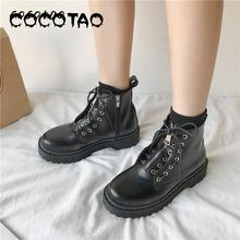 Black Thick Bottom British Wind Martin Boots Female 2019 Autumn And Winter New Students Korean Version Of The Wild Short Boots 2017 autumn and winter british wind thick bottom shoes lace up boots within 12cm muffin high slope with martin boots