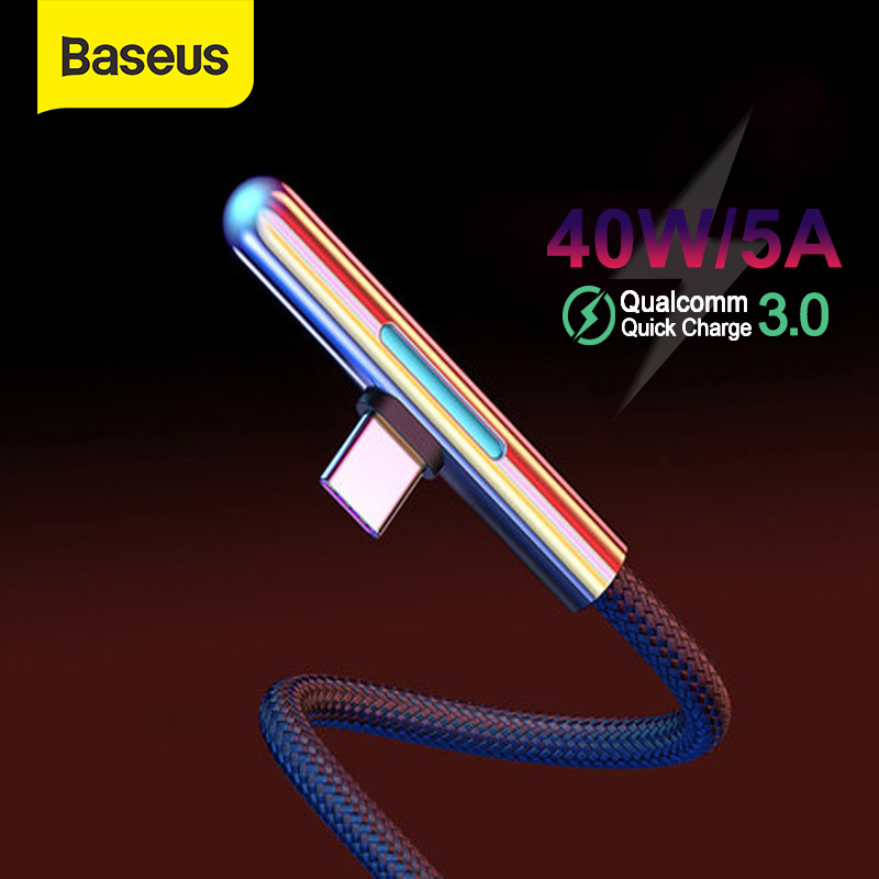 Baseus USB Type C Cable LED Elbow USB C 4A Quick Charge Cable for huawei for Samsung Xiaomi Type C Cabo USB C Game Wire Cable|Mobile Phone Cables| |  - AliExpress