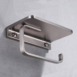 Image 3 - Phòng Tắm Giấy Giá Đỡ Với Kệ Đựng Điện Thoại Treo Tường, Hộp Đựng Giấy Vệ Sinh Với Điện Thoại Di Động Lưu Trữ Kệ Brushed Nickel