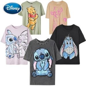 Disney Family T-Shirt Fashion Winnie the Pooh Mickey Mouse Stitch Fairy Dumbo SIMBA Cartoon Print Women T-Shirt Cotton Tee Tops