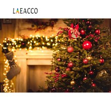 Laeacco Dreamy Christmas Tree Bauble Fireplace Sock Polka Dot Light Bokeh Photography Background Backdrop Photocall Photo Studio