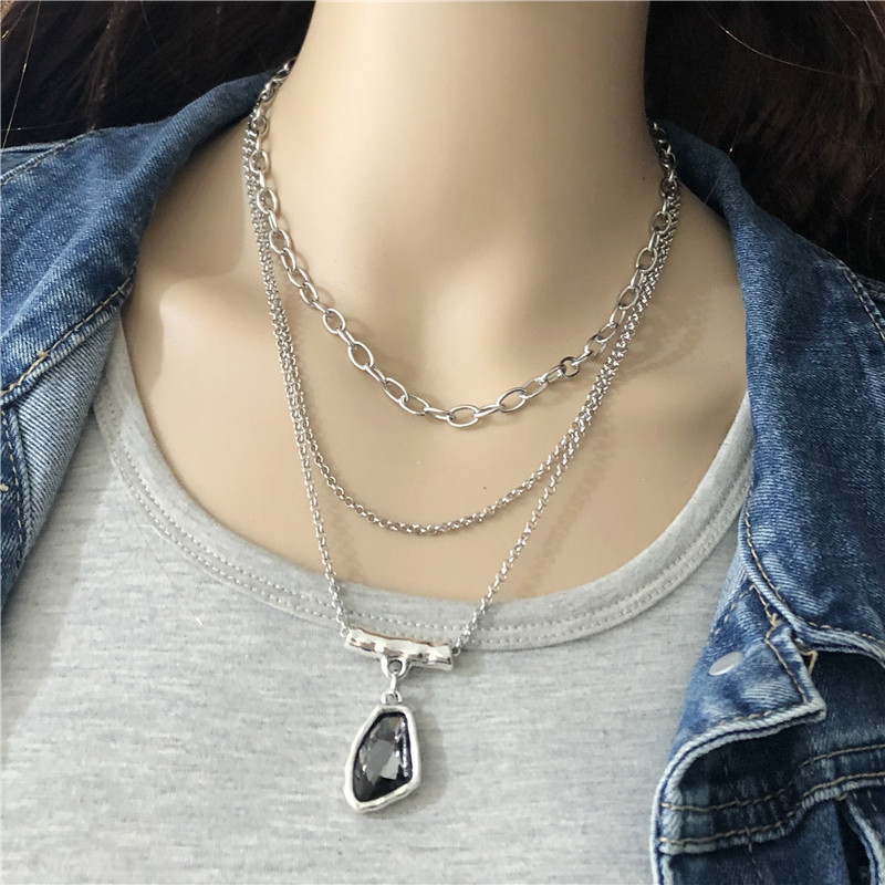 Anslow Fashion Trendy Cute Romantic Multilayer Irregular Crystal Choker Necklace For Women Ladies Female Party Jewelry LOW0023AN