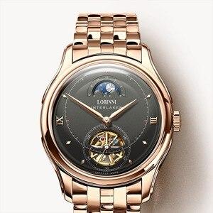 Image 1 - LOBINNI reloj para hombre con movimiento mecánico automático, cronógrafos de marca de lujo, fase lunar, zafiro, L12025M 4
