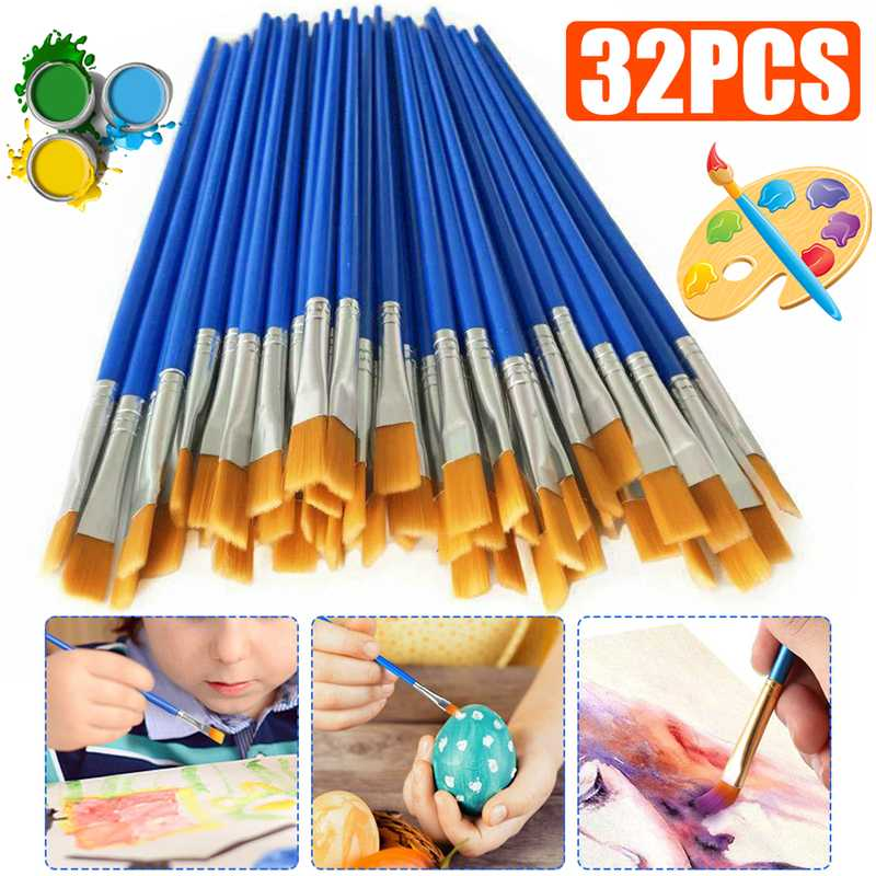 32 Pcs/set Paint Brushes Oil Watercolour Painting Art Craft Pens Brush Small Nylon Hair Painting Brush Set Art Supplies