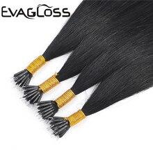 EVAGLOSS 1 грамм/прядь кератиновые прямые нано-бисер/кольца микро-звенья русские настоящие натуральные Remy человеческие волосы для наращивания