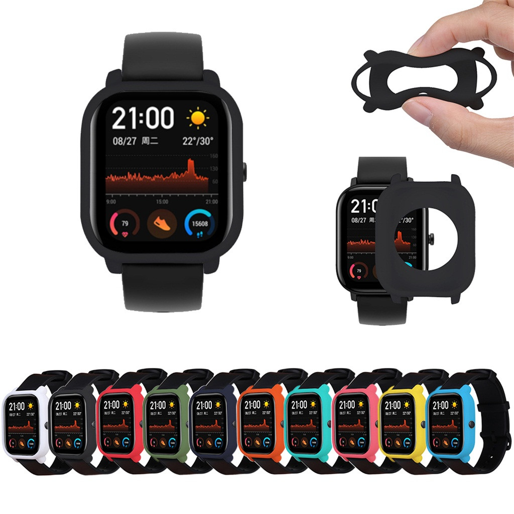 Ouhaobin Protective Case For Xiaomi Huami Amazfit GTS Watch Soft Silicone Shell For Amazfit GTS Cover Wristband Accessories