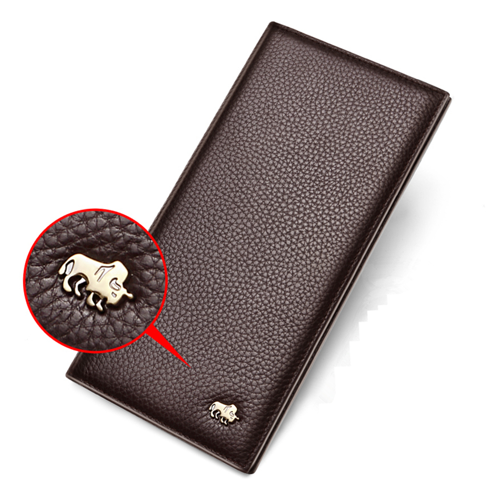 Image 4 - BISON DENIM Long Purse Bag Wallet Business Mens Thin Genuine Leather Wallet Luxury Brand Design Handy Slim Male Wallet N4470 1Wallets   -