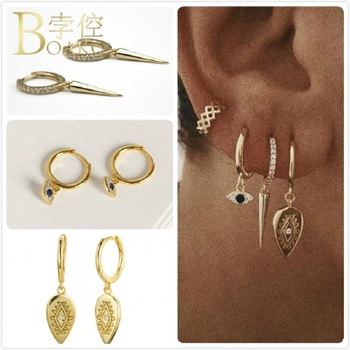 925 Sterling Silver Earrings For Women Gold Evil Eye Earrings Small Hoop Ear Bone Aretes Girl Gift Spike Zircon Earrings