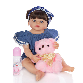 55CM full body silicone doll reborn baby dolls with Fashion hair band girls toy Simulation education shower doll children gift
