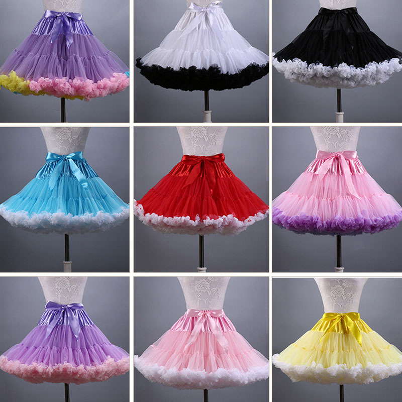 Hot Sale 2019 Adult Women Petticoat Mnini Tutu Skirt Ball Gown Dance Sexy Women Short Puffy Tulle Skirts