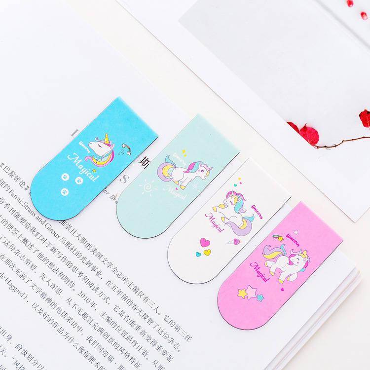 4 Pcs/pack Kawaii Unicorn Magnetic Book Marks  Pink Cartoon Bookmarks As Kids Gift Cross Bookmarker Office School Supplies