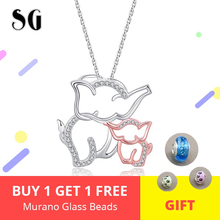 925 Sterling Silver Lovely Elephant Mom and Baby Pendant Necklaces With White CZ Fashion Jewelry Making For Women Gift