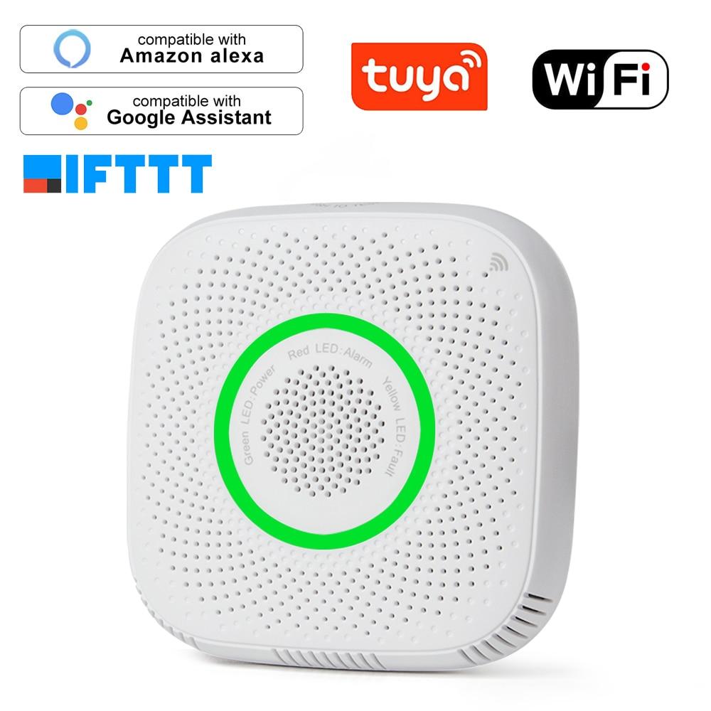 tuya wifi gpl sensor de vazamento de gas alarme detector de seguranca incendio controle app seguranca