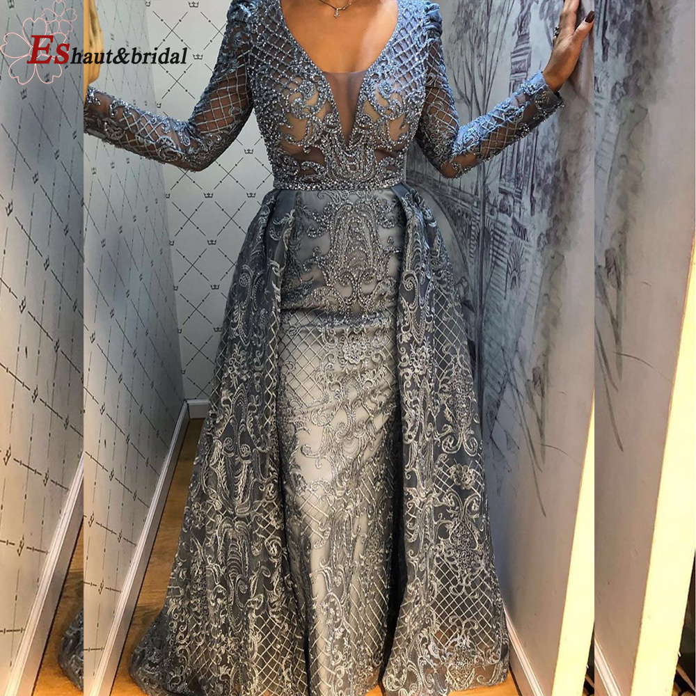 Dubai Full Lace Long Sleeves Evening Dress 2020 Mermaid V-neck Crystal Handmade Blue Arabic Formal Party Gown