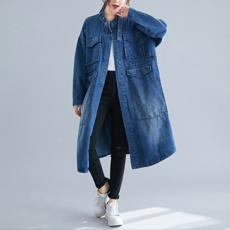 Denim Jacket Casual Windbreaker Jeans Long Coat Women Autumn Large Pocket Loose Cardigan Plus Size Vintage Mujer Chaqueta F1666