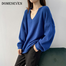 Warm Pullovers Tops Loose Sweater V-Neck Knit Long-Sleeve Korean-Style Casual Winter