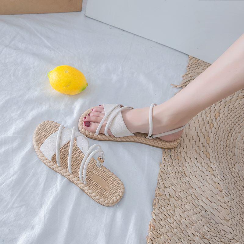 2021 Summer Shoes Woman Sandals Flat Sandalias Mujer Thin strips Gladiator Beach Sandals Ladies Flip Flops Slides
