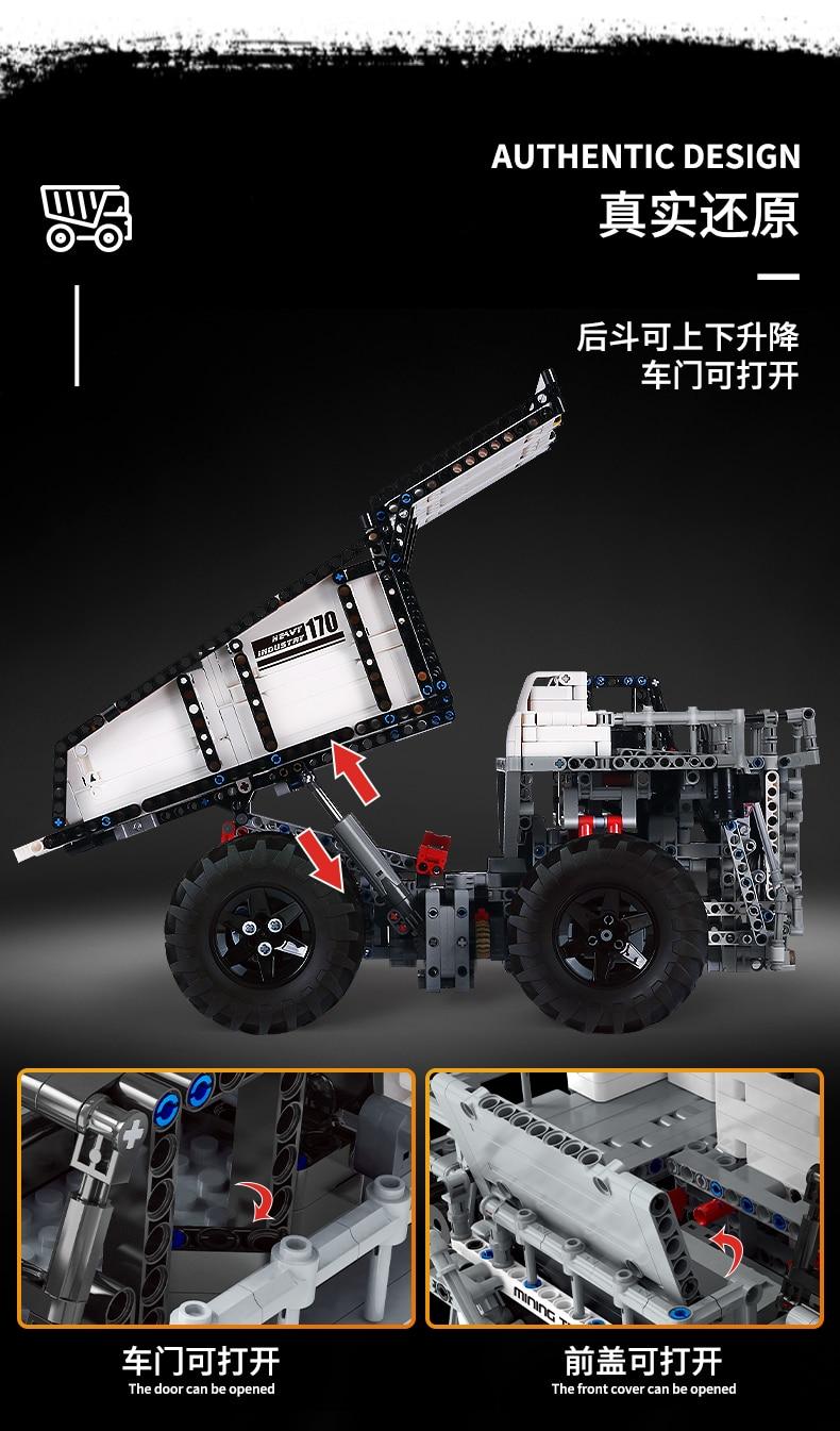 MOULD KING 13170 Compatible 29699 Technic Liebher Terex T284 Mining Excavator Dump Building Block (2044PCS) 6