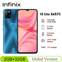 Global Version Infinix Hot 10 Lite X657C 6.6''HD+ 2GB 32GB 1600*720 5000mAh 13MP Triple Camera 10WCharger Helio A20 Mobile Phone