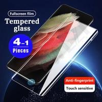 Protector de pantalla de vidrio templado para móvil, película protectora para Samsung Galaxy s10 5G s20 plus s21 Ultra s6, 1-4 Uds.