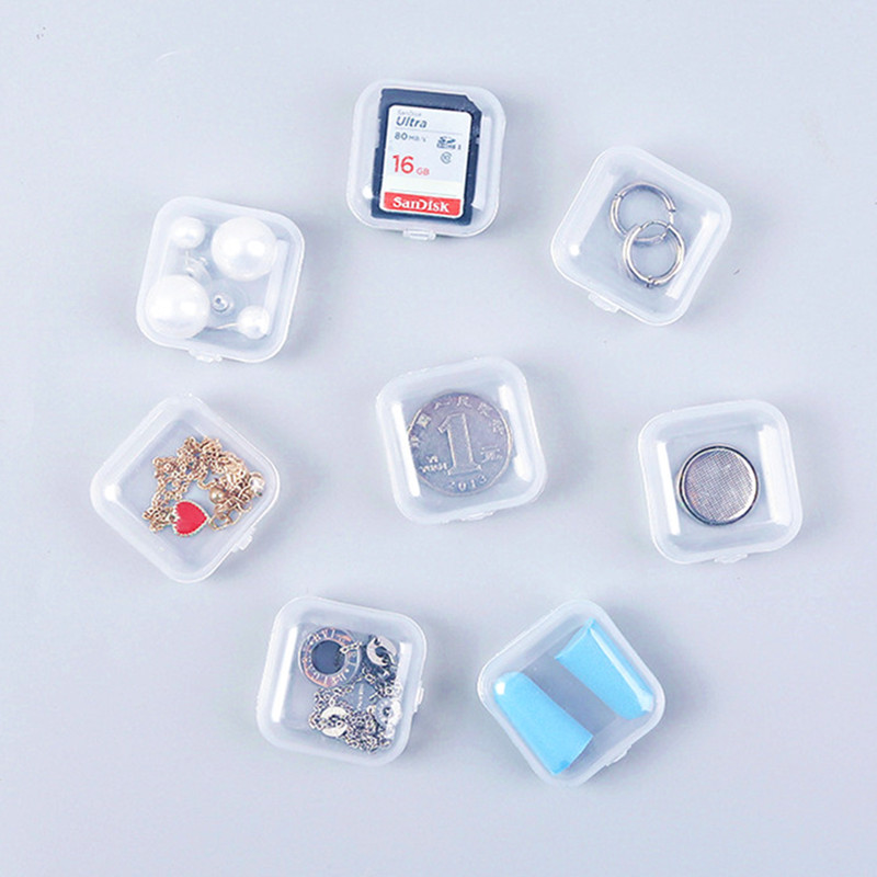 10Pcs Transparent 3.5*3.5cm Box Desk Storage Set School Students Office Supplies Jewelry Earplugs Storage Box Case Container