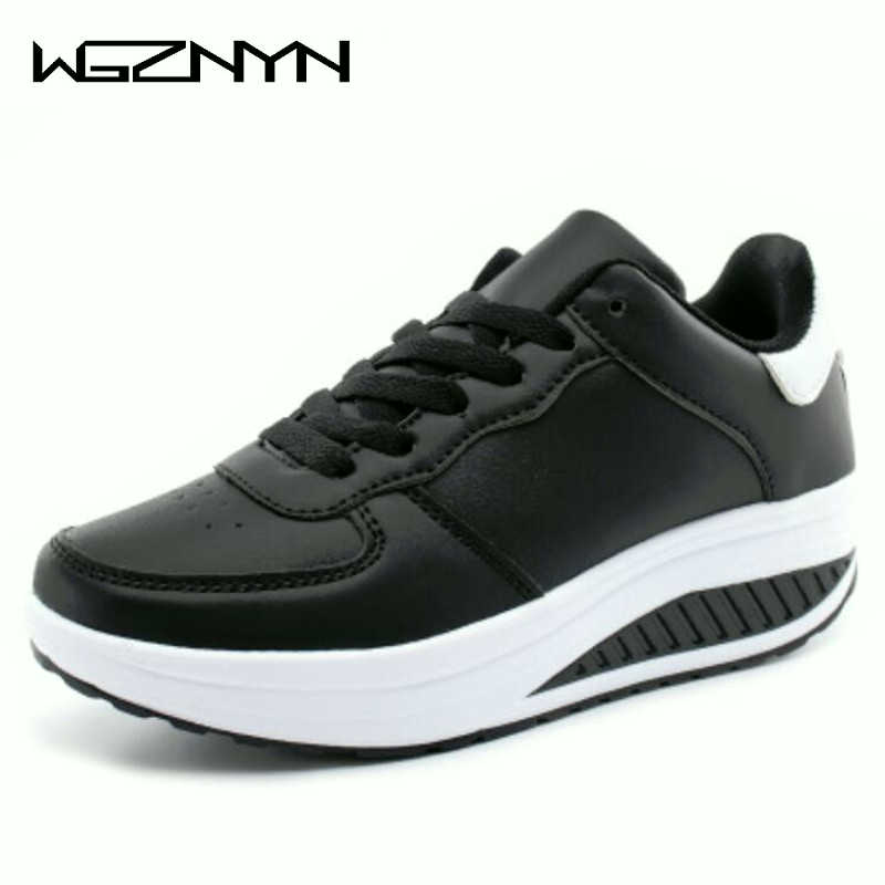 NEW Women Sneakers Breathable Waterproof Wedges Platform Vulcanize Shoes Woman Sneakers Leather Casual Shoes Tenis Feminino W35