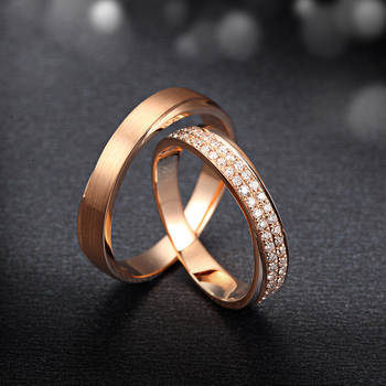 Natural Diamond 18K Rings Wedding Couple Set Genuine 0.20ct/pair SI/H Diamond 18K Rose Gold Engagement Ring Wedding Bands