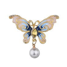 цена на Gariton 2019 New pearl Butterfly Brooches For Women Elegant Vintage Fashion Alloy Insect Brooch Pins Big Brooch Accessorie