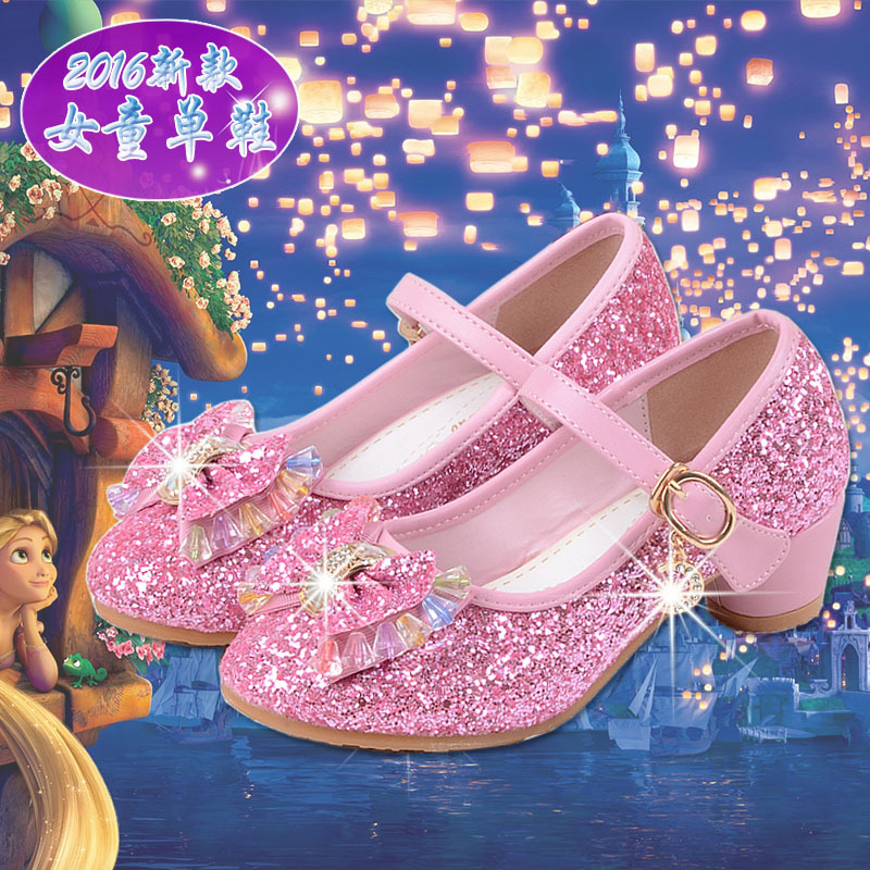 Children High Heel Shoes GIRL'S Nude Shoes Frozen Crystal Shoes 2018 Spring And Autumn New Style Big Boy Korean-style Princess S