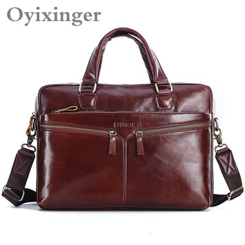"""OYIXINGER Soft Real Leather Men Briefcases 14"""" Laptop Bag Man Handbags Cross Body Cowhide Leather Men's Computer Bags Office Bag"""