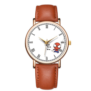 Women Creative Spiderman Watch New Stylish Leather Band Quartz Watch Lady Roman Numerals Dial Clock Couple Gift Reloj Parejas jis flash light couple quartz watch with leather band