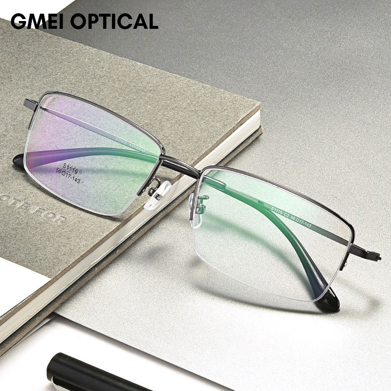 Titanium Alloy Half Rim Prescription Glasses Business Men Square Semi Rimless Myopia Optical Frame Eyewear Man Spectacles S1119