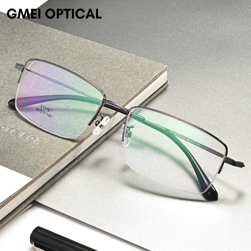 Titanium Alloy Half Rim Prescription Glasses Business Men Square Semi Rimless Myopia Optical Frame Eyewear Man Spectacles S1119