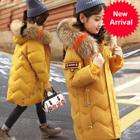 for Winter Down Jacket Girls Clothes parka real Fur Hooded Russian spring Coat 2020 New Children Outerwear Long Teenage clothing