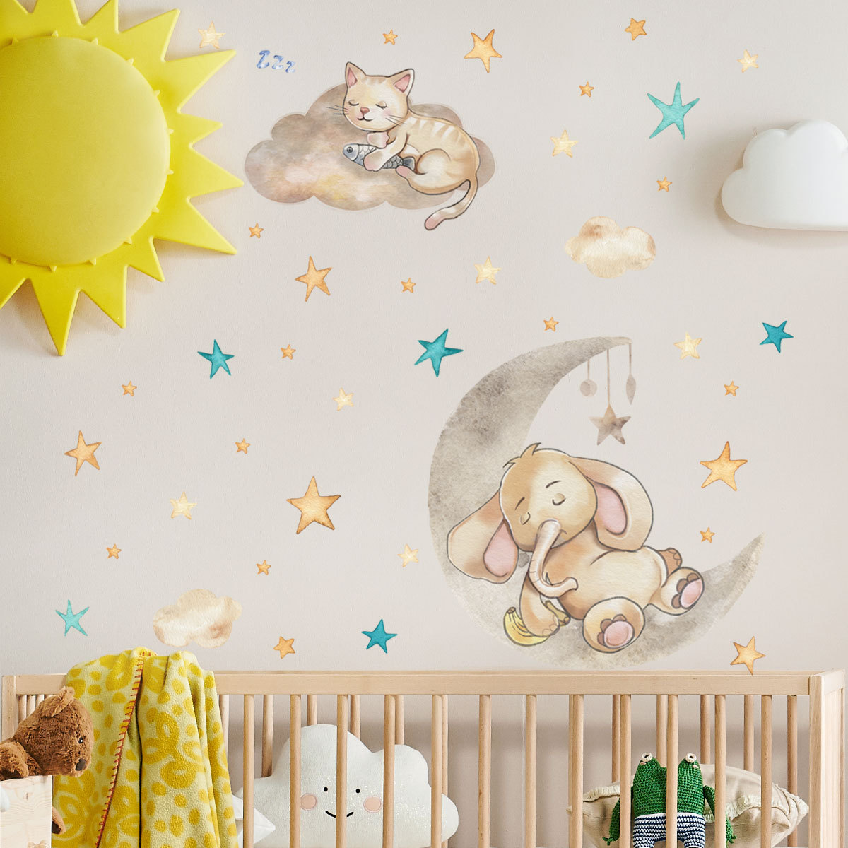 Cute Cartoon Animal Wall Sticker For Kids Baby Bedroom Nordic Style Vinyl Decorative Wall Elephant Cat Moon Stars Home Decor