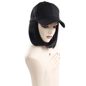 Image 3 - Synthetic Wigs Hat Baseball Cap With Short Straight Blonde Wigs For Women Female Heat Resistant Fiber Cut Short Wig