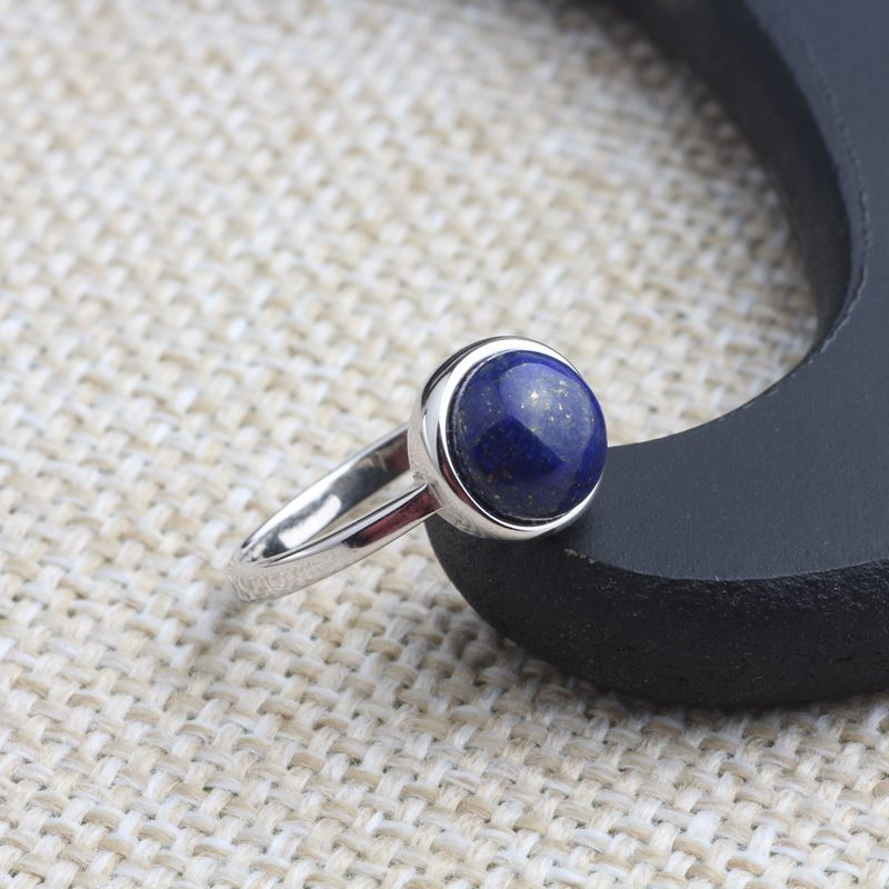 Naturel lapis lazuli Thai argent 925 bijoux en argent sterling en gros de mode simple rond haricot femmes anneau