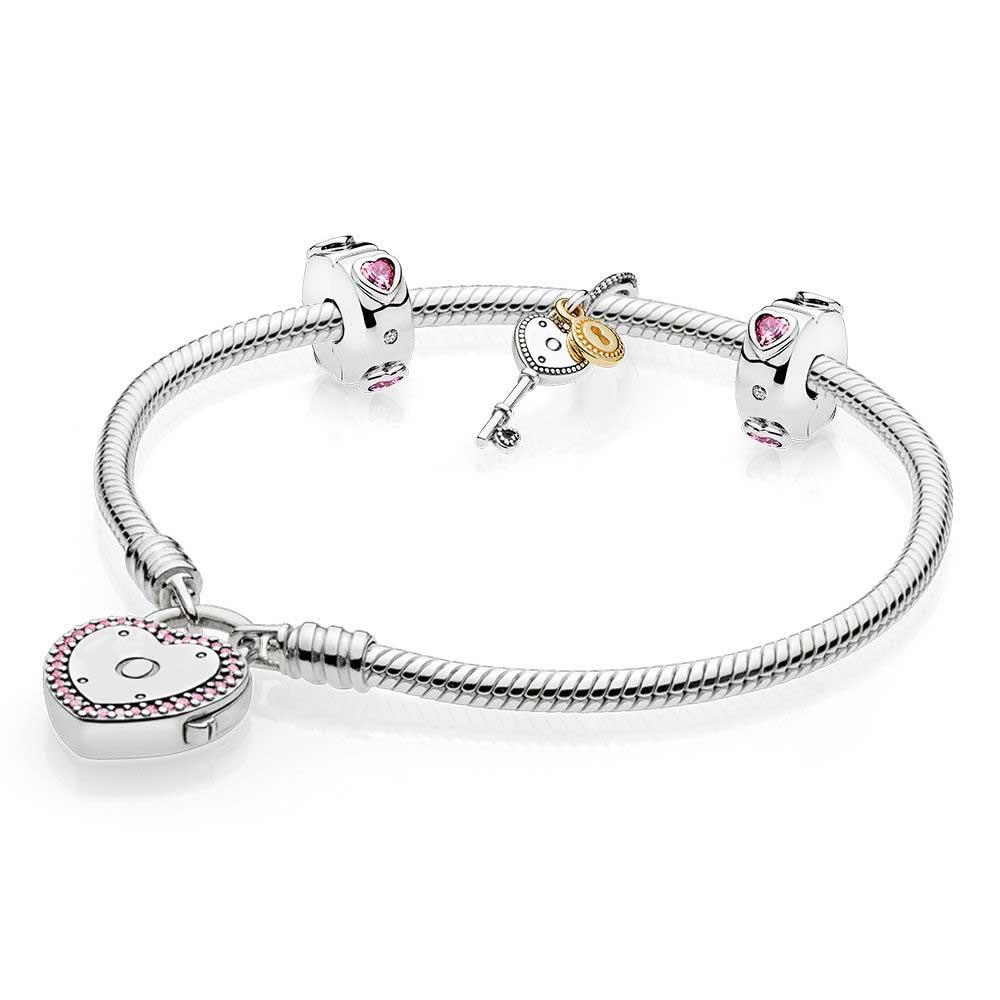 Nouveau 100% 925 argent 1:1 véritable breloque rose clé coeur Valentine Bracelet ensemble élégant breloque cadeau