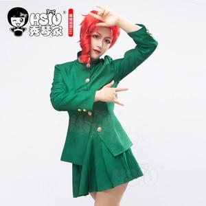 Image 3 - HSIU Anime JoJos Bizarre Adventure Role wig Kakyoin Noriaki cosplay Wig Red curl  high temperature fiber wig Cap