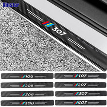 4 шт., защитные наклейки из углеродного волокна для Peugeot 106 107 108 206 207 208 2008 3008 306 308 307 508 407