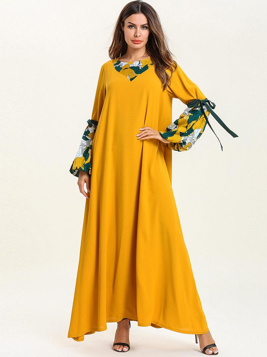 Abaya dubaï grande taille Femme impression mode Musulman Robe automne Musulmane Femme bretelles à manches longues Section mince Robe Musulmane - 2