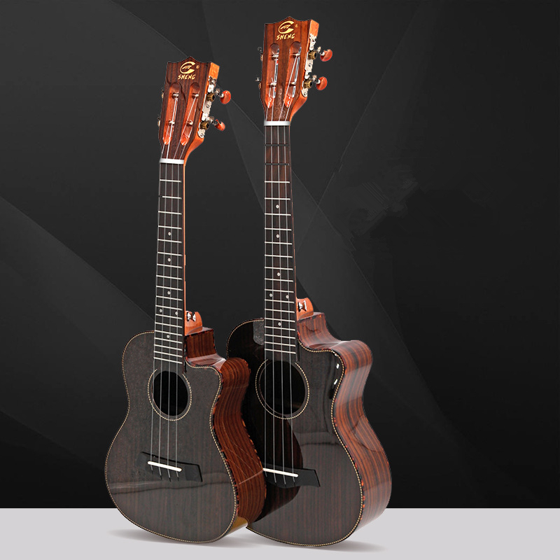 New Arrival 26 Inch Full Rosewood Ukulele Polished Corner Tenor Ukulele  4 Strings Small Guitar Mini Travel Hawaii Ukelele