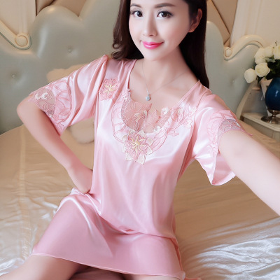 Summer Short-sleeved Viscose Nightgown Women's Sexy Cute Imitated Silk Fabric Dress Tracksuit Silk