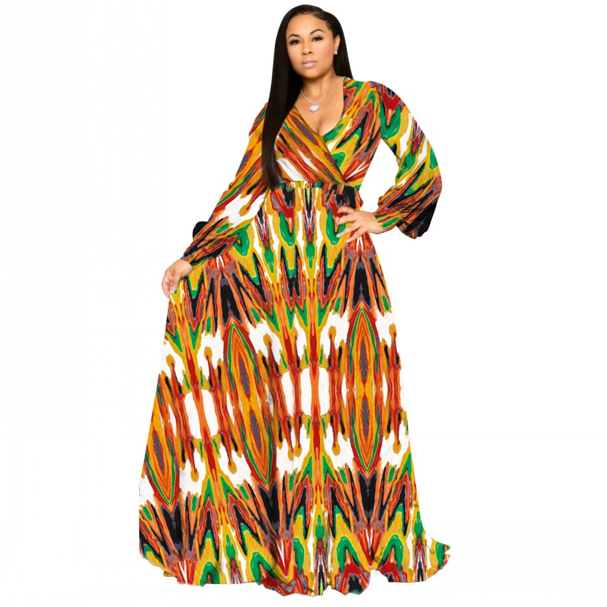 S-5XL Plus Size African Dresses For Women Robe Loose Dress Dashiki Floral Print Lady Africa Clothing Gown For Women
