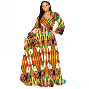 Image 1 - S 5XL Plus Size African Dresses For Women Robe Loose Dress Dashiki Floral Print Lady Africa Clothing Gown For Women