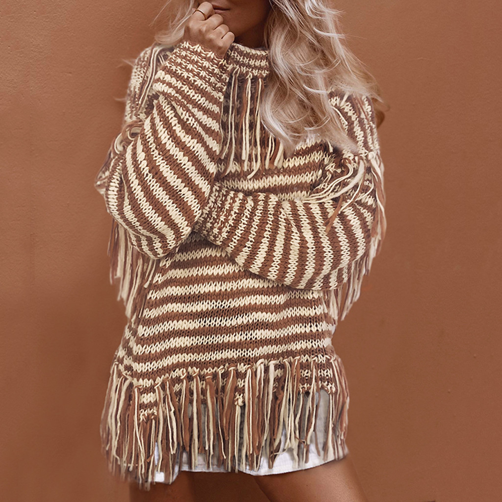 loose sweater womens sweaters Fashion Women Striped Tassels High Collar Long Sleeve Pullover Loose Sweater Y827