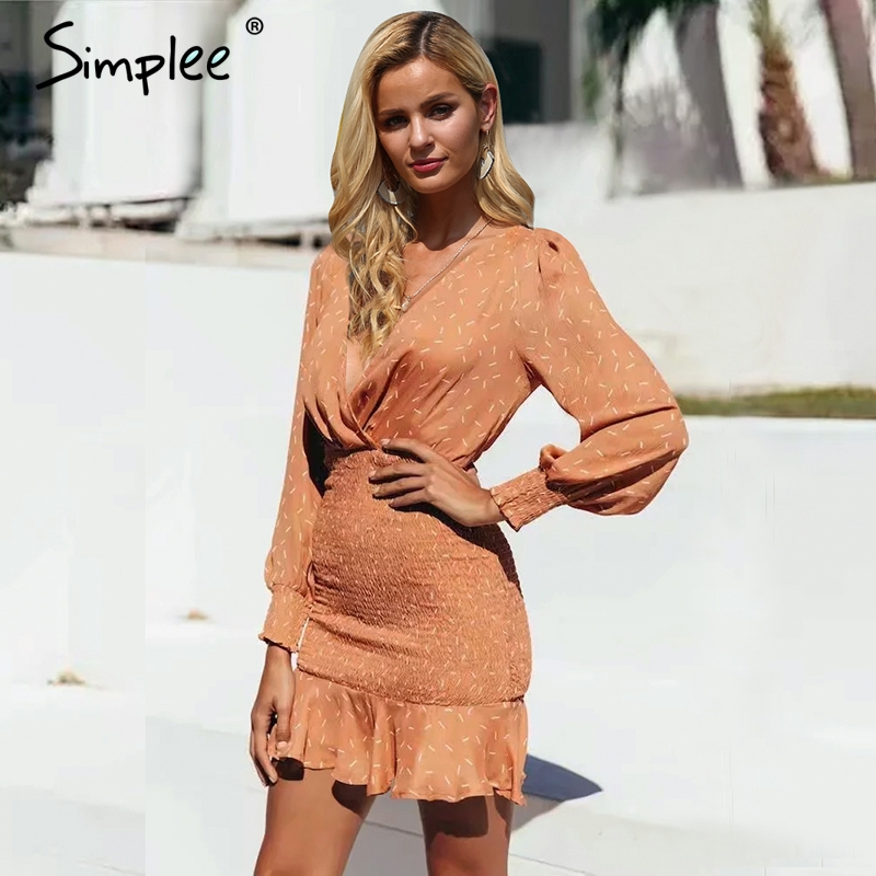 Simplee Sexy V-neck Pleated Dress Women Long Sleeve Print Mermaid Mini Dress Vintage Elastic High Waist Party Dress Vestidos