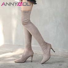 ANNYMOLI Winter Over the Knee Boots Women Real Leather Crystal Thin Heel Elastic Slim Extreme High Shoes Lady Autumn