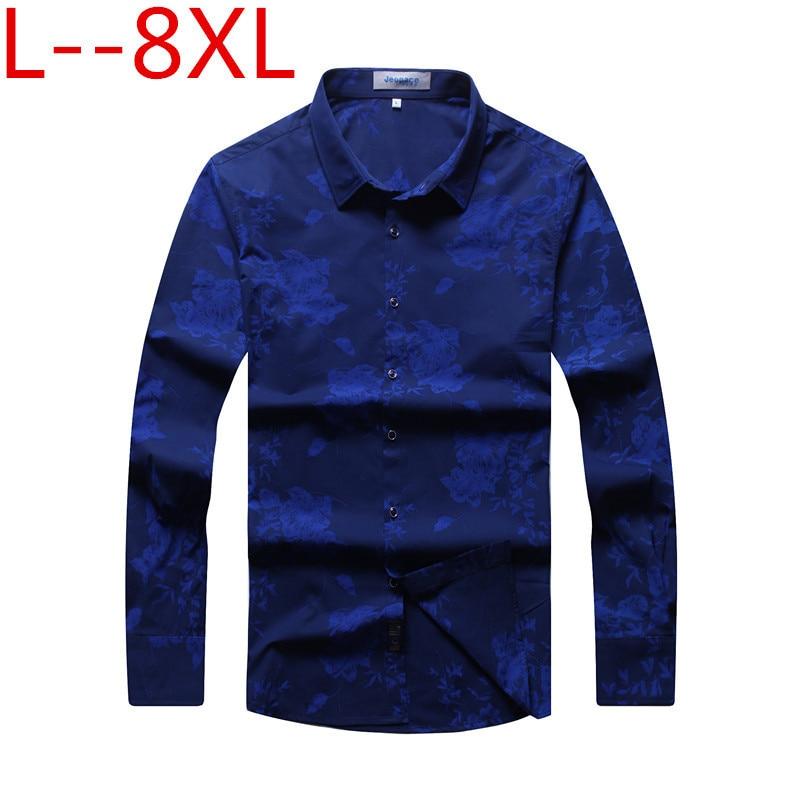 Big Size 8XL 7XL 6XL Casual Men Shirts Print Slim Fit Male Social Shirts Brand Long Sleeve Business Shirt Men Clothes Spring