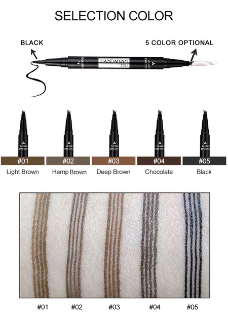 1 PC 2 in1 Double-end Liquid Eye Liner With Eyebrow Pencil Waterproof Natural Long-lasting Automatic Cosmetic Makeup Tool TSLM2 5